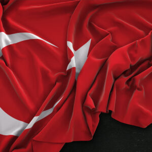 Turkey Flag Wrinkled On Dark Background 3D Render